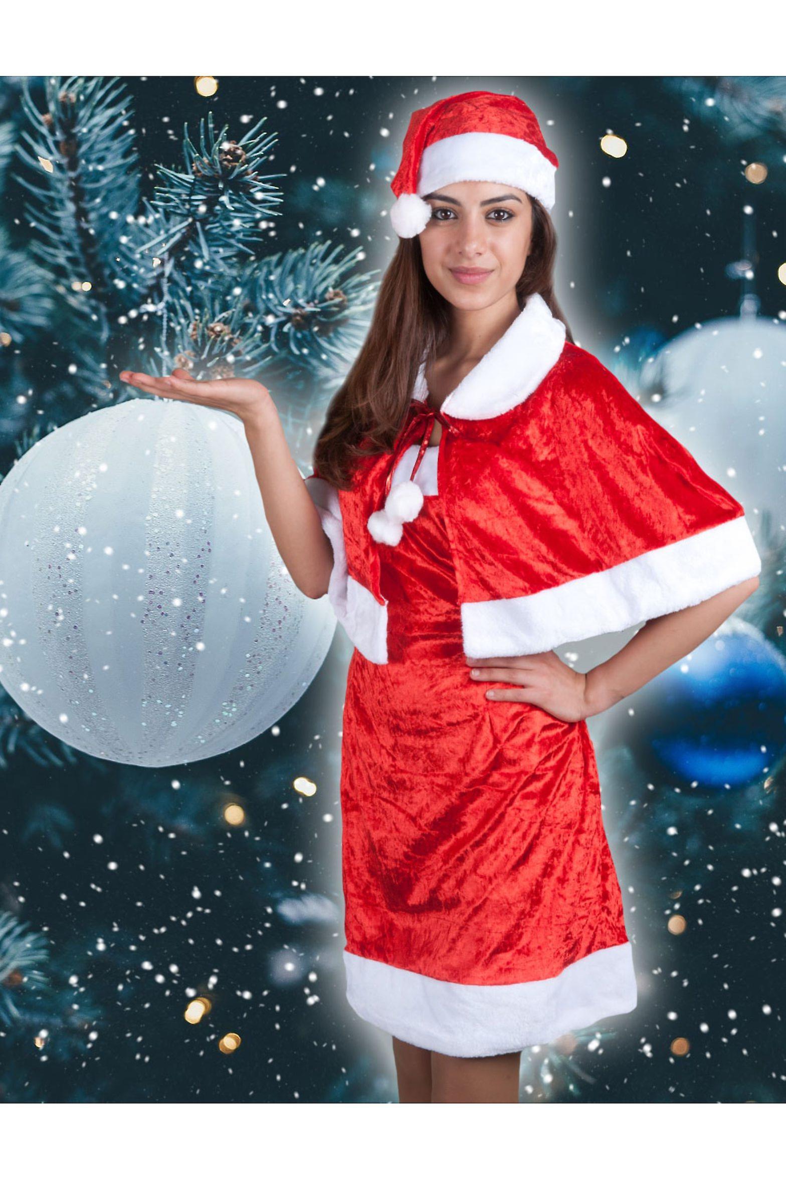 kost me frauen weihnachten frau kleid mit umhang fruugo. Black Bedroom Furniture Sets. Home Design Ideas