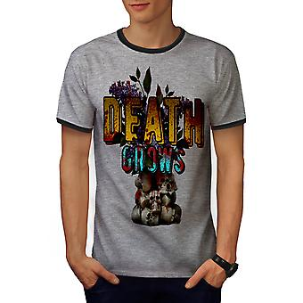 Gothic Metal Death Skull Men Heather Grey / Heather Dark Grey Ringer T-shirt | Wellcoda