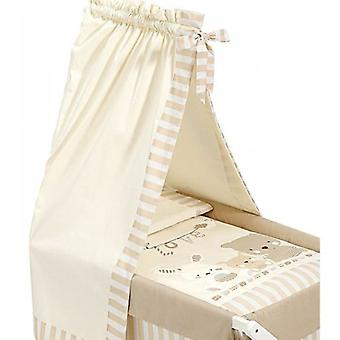 Interbaby Minicuna with textile and canopied Pasword Walnut Beige