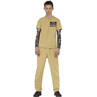 Smiffys Convict Costume Beige With Shirt Tattoo Sleeves & Trousers (Costumes)
