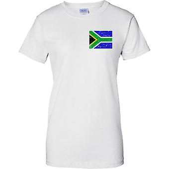 South Africa Distressed Grunge Effect Flag Design - Ladies Chest Design T-Shirt