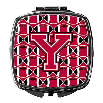 Letter Y Football Crimson and White Compact Mirror