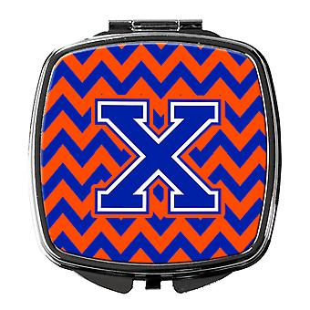 Carolines Treasures  CJ1044-XSCM Letter X Chevron Orange and Blue Compact Mirror
