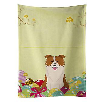 Easter Eggs Border Collie Red White Kitchen Towel