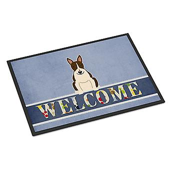Bull Terrier Dark Brindle Welcome Indoor or Outdoor Mat 18x27