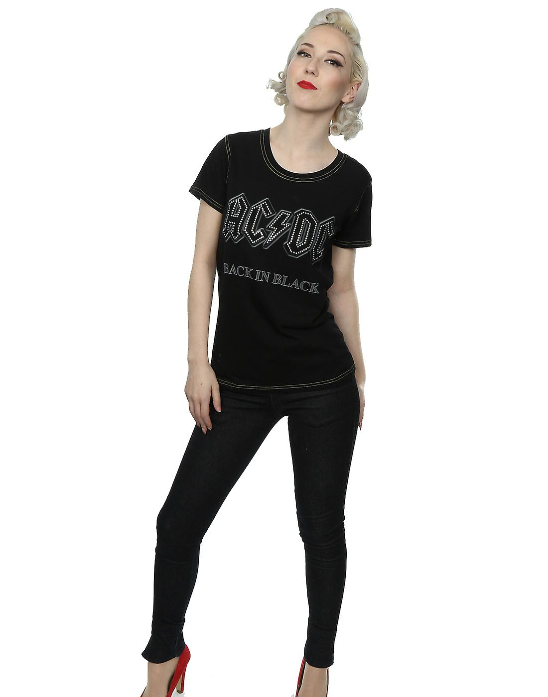 Aftershow Women's AC/DC Back In Black Diamante T-Shirt