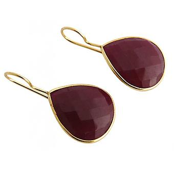 Gemshine - red - CANDY - Ruby - gold plated ladies - earrings - 925 Silver - - drop - 3.5 cm