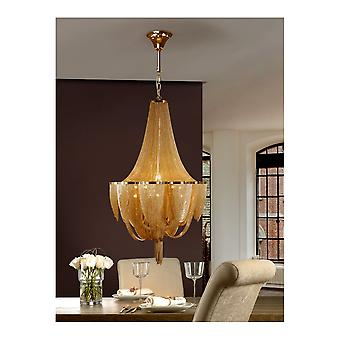 Schuller Minerva Polished Gold Chandelier Of Fine Chains, 12 Bulb