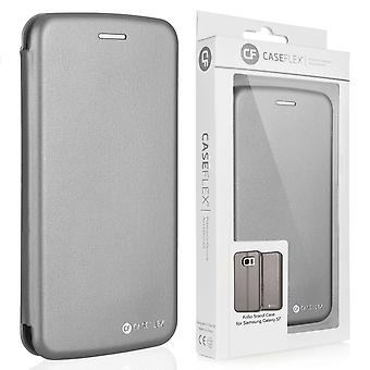 Efecto de cuero Samsung Galaxy S7 soporte caso de cartera - gris
