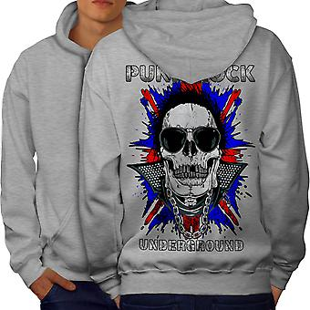 Death Funk Rock Skull Men GreyHoodie Back | Wellcoda