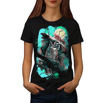 Forest Owl Moon Fantasy Women BlackT-shirt | Wellcoda