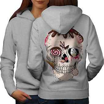 Junk Food Skeleton Skull Women GreyHoodie Back | Wellcoda