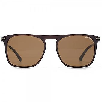 Police Keyhole Square Sunglasses In Matte Brown Polarised