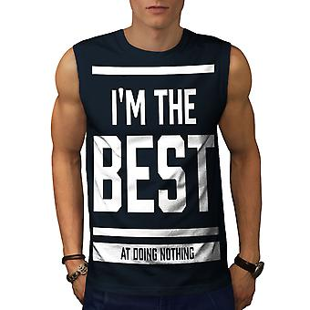 Best Doing Nothing Funny Men NavySleeveless T-shirt | Wellcoda