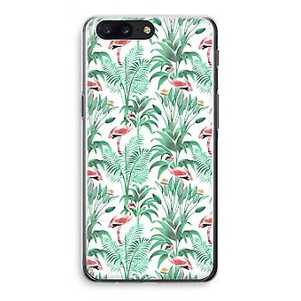 OnePlus 5 Transparant Case - Flamingo leaves