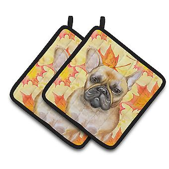 Carolines Treasures  BB9949PTHD French Bulldog Fall Pair of Pot Holders