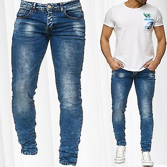 Men's pants jeans pants stone washed tapered vintage denim used