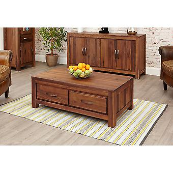 Mayan Walnut Low Four Drawer Coffee TableBrown - Baumhaus