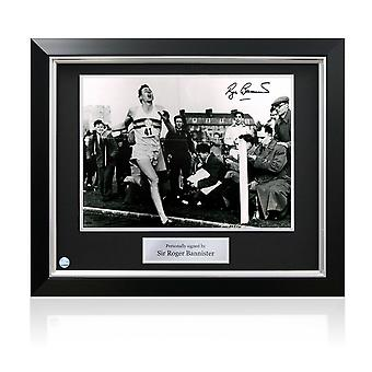 Deluxe Framed Roger Bannister Signed Photograph: First Under 4 Minute Mile