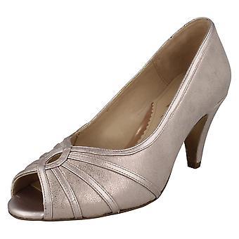 Ladies Elegant Van Dal Peep Toe Shoes Hart - Bamboo Metallic Leather - UK Size 5EE - EU Size 38 - US Size 7
