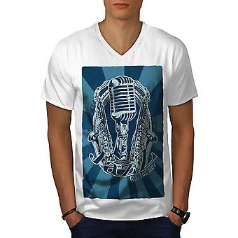 Jazz All The Way Music Men WhiteV-Neck T-shirt   Wellcoda
