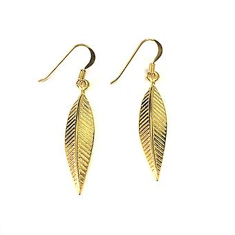 Sterling Silver 18 Karat Gold Overlay Greek Olive Leaf Drop Earrings