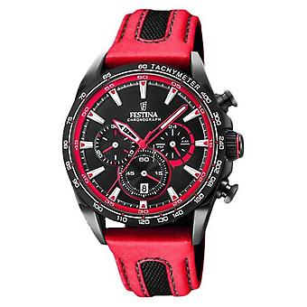 Festina Mens Sport Chronograph Red Leather Strap Black Dial F20351/6 Watch