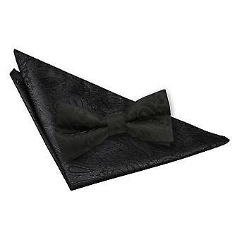 Black Paisley Bow Tie & Pocket Square Set