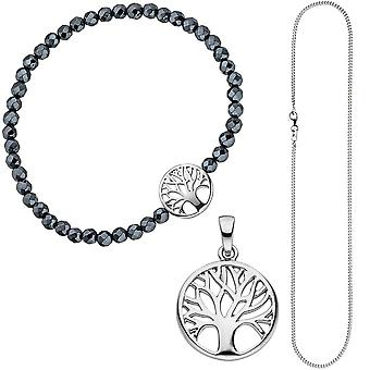 Jewelry set tree life tree world tree 925 Silver Bracelet Pendant chain 38 cm
