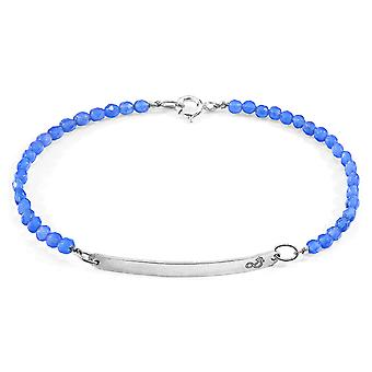 Anchor & Crew Blue Agate Purity Silver and Stone Bracelet