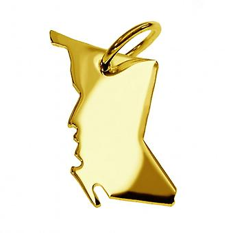 Trailer map pendants in gold yellow-gold in the form of BRITISH COLUMBIA