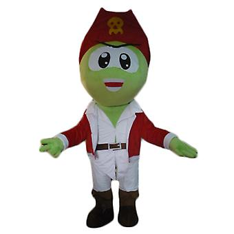SPOTSOUND of green pirate mascot, in white and red outfit