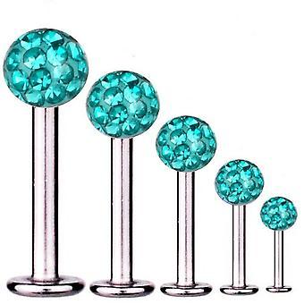 Labret Bar Tragus Piercing Titanium 1,6 mm, Multi Crystal Ball Aqua | 5 - 16 mm