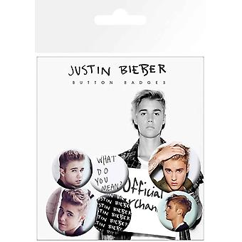 Justin Bieber Badge Pack Purpose Portrait Logo Mix Official 4 x 25mm & 2 x 32mm