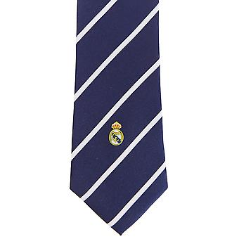 Real Madrid CF Mens Official Striped Football Crest Neck Tie