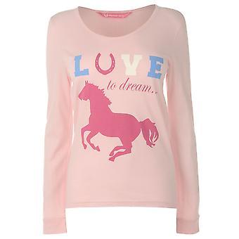 Traum Damen Pyjama Set Langarm runder Hals Baumwolle Print gerades Bein