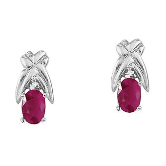 14k White Gold 6x4mm Oval Ruby and Diamond Stud Earrings