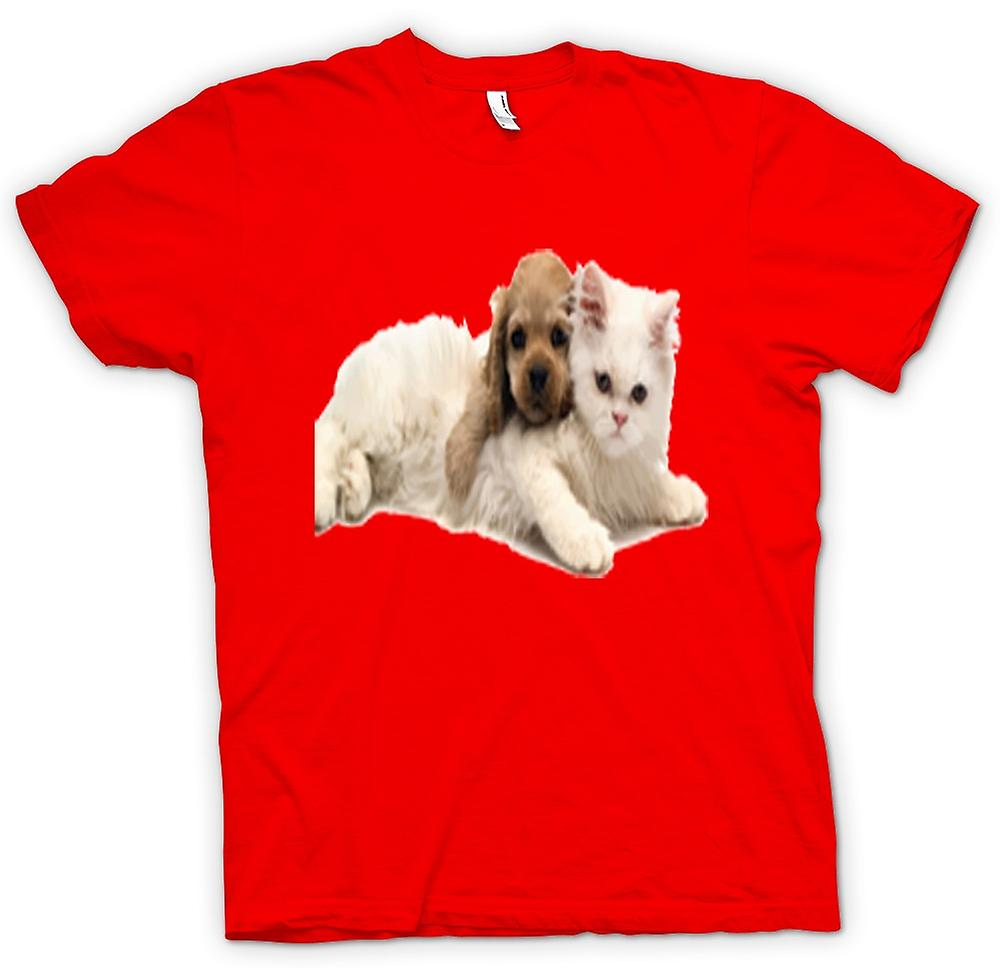 Mens T-shirt - Cute Cat And Dog Portrait