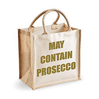 Medelstora naturliga guld Jute väska kan innehålla Prosecco