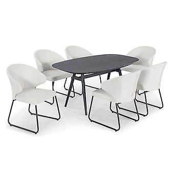 Nova - Hokuto 6 Seat Cream Outdoor Fabric Dining Set - 1.6m x 90cm Rectangular Garden Table