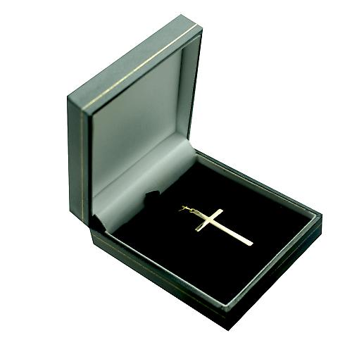 9ct Gold 34x18mm block Cross with engine turned lined border