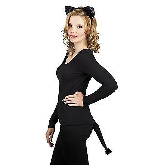 Womens ragazze gatto orecchie Set Tiara & coda costume accessorio