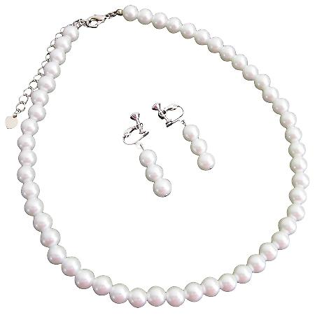 Flower Girls Wedding Non Pierced Jewelry White Pearls