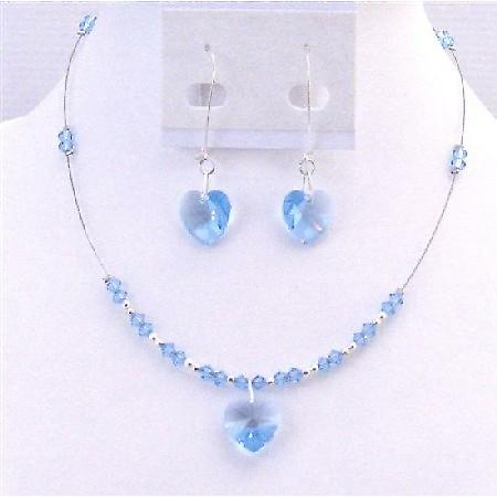 Valentine Gift Swarovski Heart Crystal Pendant Aquamarine Earrings Set