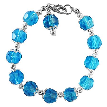Royal Blue Crystals Glass Beads Dangling Stunning Bracelet Bali Silver
