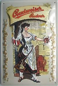 Budweiser Budvar Girl with Steins embossed steel sign (hi 2030)