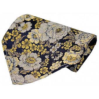 Posh und Dandy Floral seidenes Taschentuch - Gold/Navy/Silber
