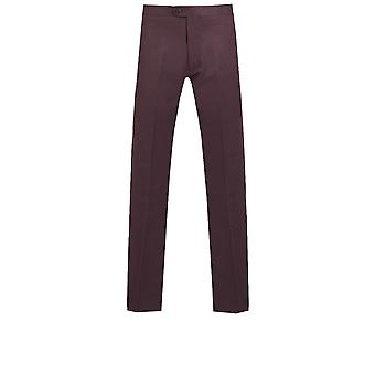 Dobell Mens Burgundy Tuxedo Trousers Slim Fit Satin Side Stripe