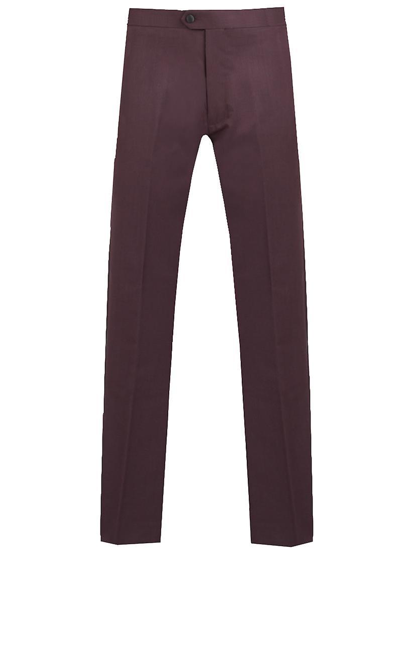 Dobell Mens Burgundy Tuxedo Trousers Slim Fit Satin Side Stripe