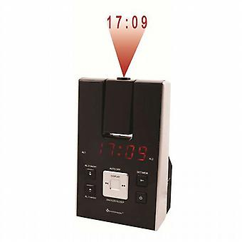 Clock radio with projection.